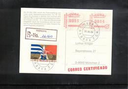 Cuba 1984 ATM Interesting Registered Postcard - Cartas