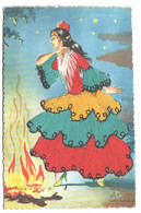 Carte Brodée Espagnole , Elsi Gumier , Danza De Fuego , * 394 12 - Embroidered