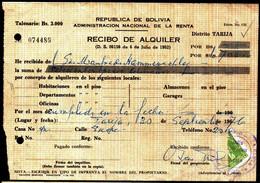 Bolivia 1976 Recibo De Alquiler $b2.00 Verde Bisecado LIto Copacabana Tipo H&A126. - Bolivia