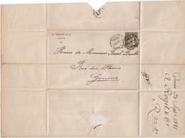 CTN64 - SUISSE HELVETIA ASSISE 5c LSC GENEVE POUR VILLE 21/9/1881 - Unclassified
