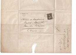 CTN64 - SUISSE HELVETIA ASSISE 5c LSC GENEVE POUR VILLE 6/7/1881 - Unclassified