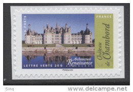 N° 1114a Adhésif 2015 Chateau De Chambord Valeur Faciale Lettre Verte - Sellos Autoadhesivos