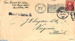 United States Of America 1910 Envelope From Manhattan, Kansas To Virginia Illinois. MIssent Postmark, (Postal History), - Poststempel