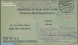 United States Of America 1945 Prisoner Of War Postcard From The USA To Germany, (Postal History), Stamps - Postal History