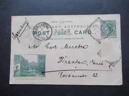 Übersee Neuseeland New Zealand 1900 Ganzsache Bild Where The Maori Loves To Roam Stempel Bluff U.Invercargill - Dresden - Briefe U. Dokumente