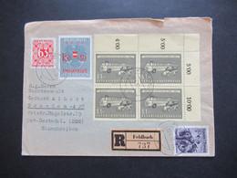 Österreich 1957 Postauto Nr.1034 Eckrand 4er Block MiF Mit Portomarke Nr.243 Einschreiben Feldbach Nach Dresden Gesendet - 1945-60 Storia Postale