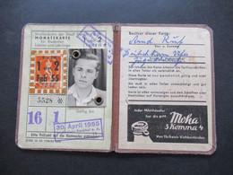 1955 Straßenbahn Der Stadt Frankfurt A.M. Monatskarte Für Studenten, Schüler Und Lehrlinge Mit Foto Und Steuermarke - Europa