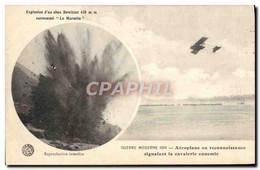 CPA Militaria Explosion D&#39un Obus Howitzer 420mm Surnomme La Marmite Aeroplane En Reconnaissance - 1914-1918: 1a Guerra