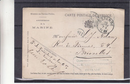Belgique - Carte Postale De Service De La Marine De 1889 - Oblit Ostende - Exp Vers Bruxelles - - Servicio