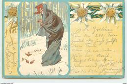 N°15610 - Jeune Femme Nourrissant Des Oiseaux Dans La Neige - Edelweiss - Andere Zeichner