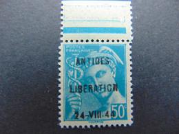 Rare N°. 4M (catalogue Mayer) De La Libération D'Antibes Bord De Feuille - Liberation