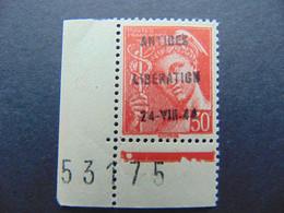 Rare N°. 2M (catalogue Mayer) De La Libération D'Antibes Coin De Feuille - Liberación