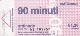 AMT GENOVA BIGLIETTO ORDINARIO - Europe