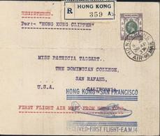 Registered Cachet Per Hong Kong Clipper Hong Kong To San Francisco Received First Flight FAM 14 CAD HK Air Mail 29 AP 37 - Brieven En Documenten