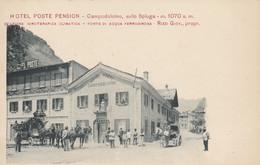 Campodolcino ,( Sondrio ), Hôtel Poste Pension ,sullo Spluga M 1070 S M; Rizzi Giov Prop ,( Attelage , Malle Poste - Sondrio