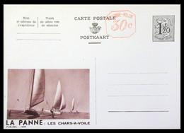 Entier . CP . Publibel Neuve 1498 .1,20 Fr + 30c .LA PANNE . LES CHARS-A-VOILES - Publibels