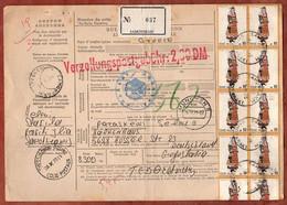 Paketkarte, Trachten U.a., Samothraki Ueber Thessaloniki Muenchen Nach Velbert 1973 (2506) - Cartas