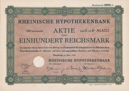 AKTIE Nr.14223 Rheinische Hypothekenbank über 100 RM Mannheim, Im März 1929 - P - R