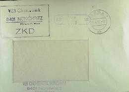 """Fern-Brief Mit ZKD-Kastenstempel """"VEB Chemiewerk 8401 NÜNCHRITZ Kreis Riesa"""" Vom 14.4.67 Nach Halle/Saale - Service"""