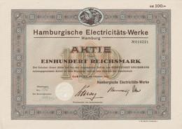 AKTIE Nr.019221 Hamburgische Electricitäts-Werke Hamburg über 100 RM Hamburg, Im Oktober 1931 - G - I