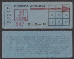 Autobus Bus - BUDAPEST HUNGARY BKV Public Transport Ticket - 1980's - Not Used - Europe