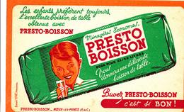BU 2161  /   BUVARD-    PRESTO BOISSON  NOEUX-LES- MINES   (21,00 Cm X 13,50 Cm ) - Softdrinks