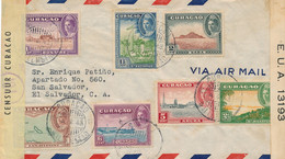 Curacao - 1943 - 7 Zegels Op 2x Censored Cover - Gele Censuurstrook - Naar El Salvador - Abierta Por Censura Defensa... - Curaçao, Nederlandse Antillen, Aruba