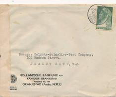 Curacao - 1943 - 12,5 Cent Wilhelmina Met Sluier Op Aruba Censored Businesscover Van Oranjestad Naar New Jersey / USA - Curaçao, Nederlandse Antillen, Aruba