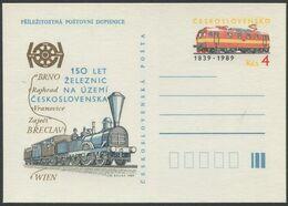 """TSCHECHOSLOWAKEI / Ganzsache """"150 Jahre Eisenbahn"""" / Neu - Trenes"""
