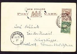 1901 Bild GZ Karte Mit Zusatzfrankatur Aus Auckland Nach Windhoek, Deutsch West Afrika. Ankunftstempel - Briefe U. Dokumente