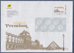 Nouvelle Enveloppe Entier International 250g Mensuel Premium Cadre Phil@poste Avec Le Louvre Et La Pyramide - Prêts-à-poster: Other (1995-...)