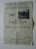 ZA337.8    Timetable  Subotica -Nov Sad- Beograd  Yugoslavia   1981 - Serbia   Railway -train - Europe