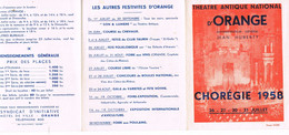 PROGRAMME DE THEATRE - CHOREGIE D'ORANGE - 1958 - DEPLIANT - - Programs