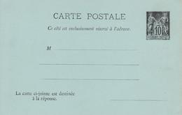 < France Entier Sage 10c + 10c ..  CPRP .. Carte Postale Avec Réponse Payée .. 4 Lignes, Sans RF Sans Date .. SAG G 40 - Cartoline Postali E Su Commissione Privata TSC (ante 1995)