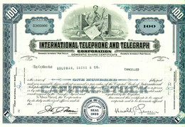 "USA Aktie 1964 Telefon Telegraph "" 100 $ International Telephone And Telegraph Maryland "" Share Action Partager - Elektrizität & Gas"