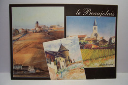 LE  BEAUJOLAIS  -  PEINTURE  -AQUARELLE -  Allain  RENOUX  -  ( Pas De Reflet Sur L'original ) - Pittura & Quadri