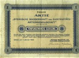 """Österreich Steiermark Aktie 1926 """" Steirische Wasserkraft- Und Elektrizitäts AG Graz """" Share Action Partager - Elektrizität & Gas"""