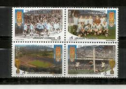Uruguay, Le Premier Champion Du Monde De Football 1930 & 1950. Scènes Des Matchs 1930 & 1950. Bloc De 4 Timbres Neufs ** - 1930 – Uruguay