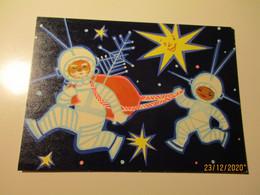 1967 USSR RUSSIA ESTONIA NEW YEAR SPACE COSMOS SANTA CLAUS IN SPACE SUIT  , ARTIST FUKS    , OLD POSTCARD   , O - Anno Nuovo