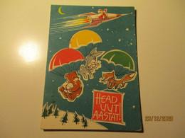 1963 USSR RUSSIA ESTONIA NEW YEAR SPACE COSMOS SANTA CLAUS ON ROCKET , FOX BEAR RABBIT PARACHUTE  , ARTIST TALI ,0 - Anno Nuovo