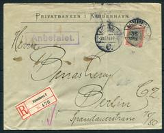 1912 Denmark 35/20 Ore Provisional Overprint Registered ANBEFALET Cover Privatbanken Copenhagen - Berlin Germany - Briefe U. Dokumente