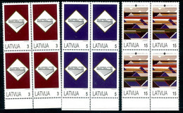 LATVIA 1993 Song And Dance Festival Blocks Of 4  MNH / **.  Michel 357-59 - Letonia