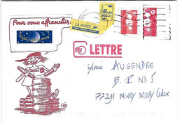 Enveloppe Avec Vignettes Composites - Mail Art - Marianne Du Bicentenaire Yv 2806 - Oblitération Cad Paris Rue Du Louvre - Briefe U. Dokumente