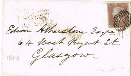 38722. Carta St. JHON'S WOOD (England) 1849 To Glasgow, Llegadas Al Dorso, Penney Red, Gride 7 Diamond - Briefe U. Dokumente