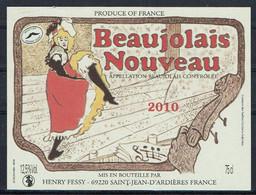 THEME MUSIQUE étiquette De Vin BEAUJOLAIS NOUVEAU FRENCH CANCAN 2010 - Music
