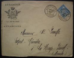 Avranchin 1891 Lettre Avec Blason, Daguin D'Avranche, Pour Le Haye Pesnel (manche) - 1877-1920: Periodo Semi Moderno