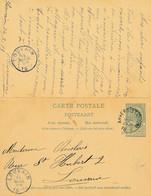 Briefkaart Met Antwoord Nr 24 - 5+5c - Anvers (station) 14 Mars 1898 Naar Leuven – Antwoord Louvain 15 Mars 1898 - AK [1871-09]