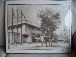 Lithografie Postkantoor Vilvoorde 1 – Nr 2/500 Getekend Jan Van Lysebette + 2 Poststempels - Lithographien