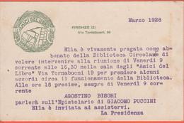 AMICI DEL LIBRO - Firenze - 1928 - Invito A Riunione Per La Biblioteca Circolante Su Cartolina Postale Prestampata - Documenti Storici