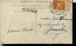Carte Fantaisie Obl. TIENEN - 1 - TIRLEMONT 12/03/1913  + Griffe De HEDENGE - Sello Lineal